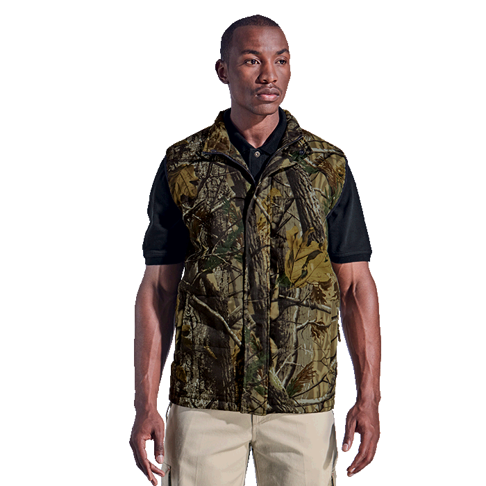 camo bodywarmer front view